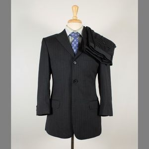 Valentino 36S 32x28 Gray Stripe Flat Front Suit